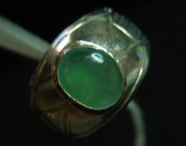 NATURAL  jade  IN TIBETAN  RING  SIZE  7  11 094