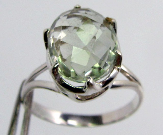 FACETED PRASIOLITE STYLISH SILVER RING SIZE 9  GG1048