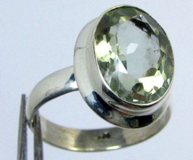 FACETED PRASIOLITE STYLISH SILVER RING SIZE 8.5  GG1050