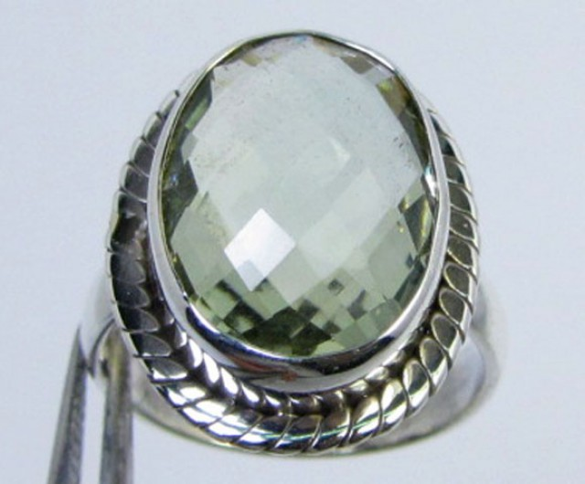 FACETED PRASIOLITE STYLISH SILVER RING SIZE  7 GG1053