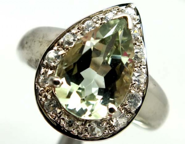 GREEN AMETHYST  SILVER RING  25.35 CTS  SIZE- 7.50   RJ-346