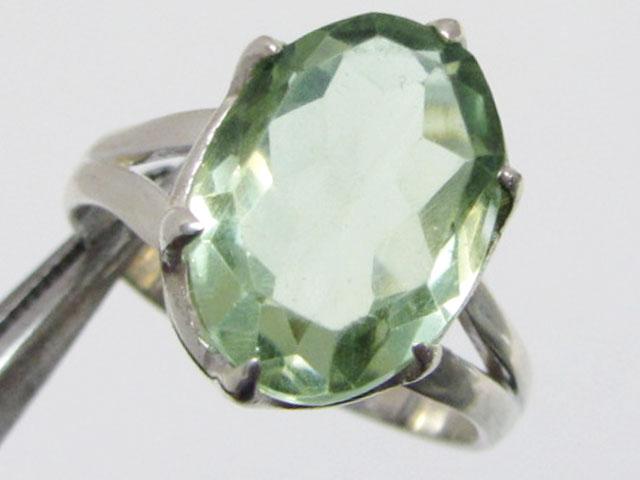 Prasiolite Silver Ring size 9 MJA 689