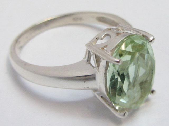 Prasiolite Green Amethyst   Silver Ring size 10 MJA 691