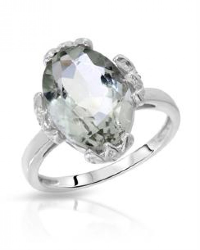 NEW RING - GENUINE GREEN AMETHYST  AND DIAMONDS