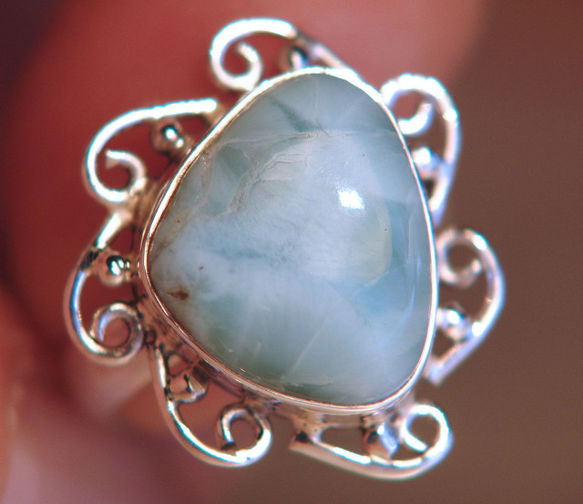Sterling Silver and Natural Larimar Ring - Gorgeous Size 7