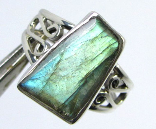 FREEFORM LABRADOROITE STERLING SILVER RING SIZE 10. 5 GG1002