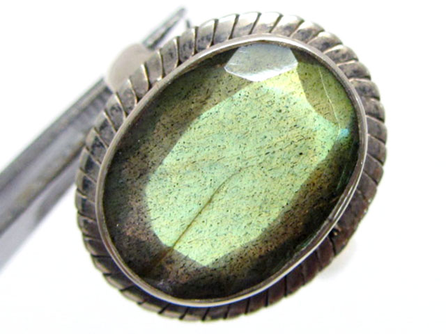 Oval faceted Labradorite in Silver ring size   10  MJA 524