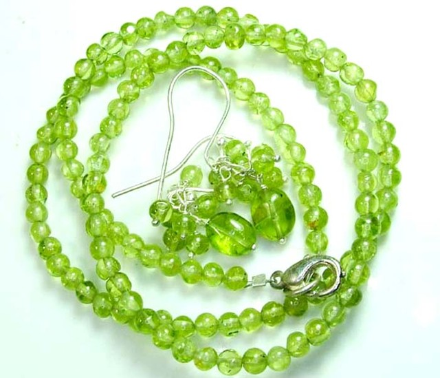 PERIDOT NECKLACE EARRING SET 59.5 CTS  SG-2214