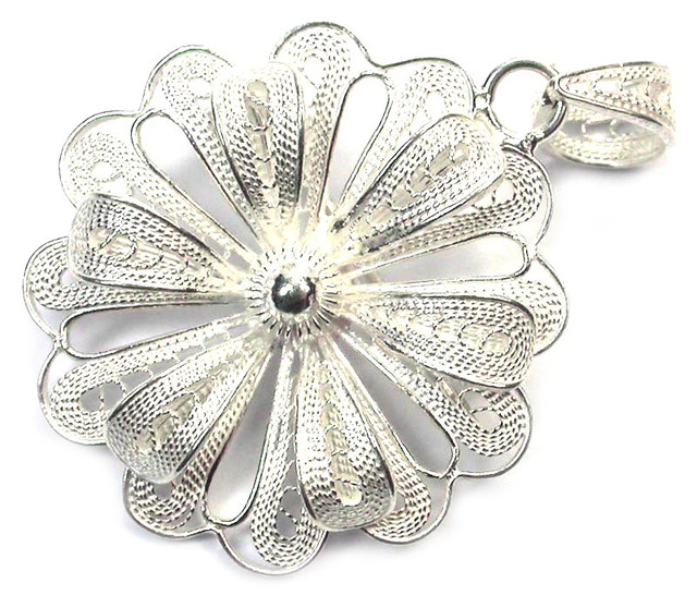 UNIQUE FILIGREE SILVER PENDANT 18.55 CTS [SJ1276]
