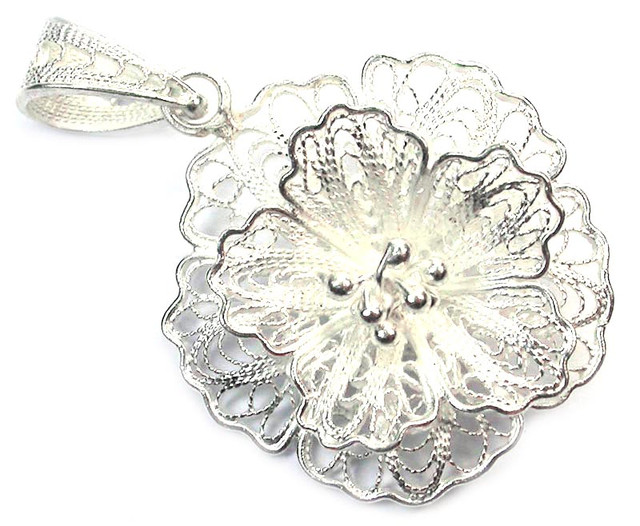 UNIQUE FILIGREE SILVER PENDANT 16.25 CTS [SJ1277]