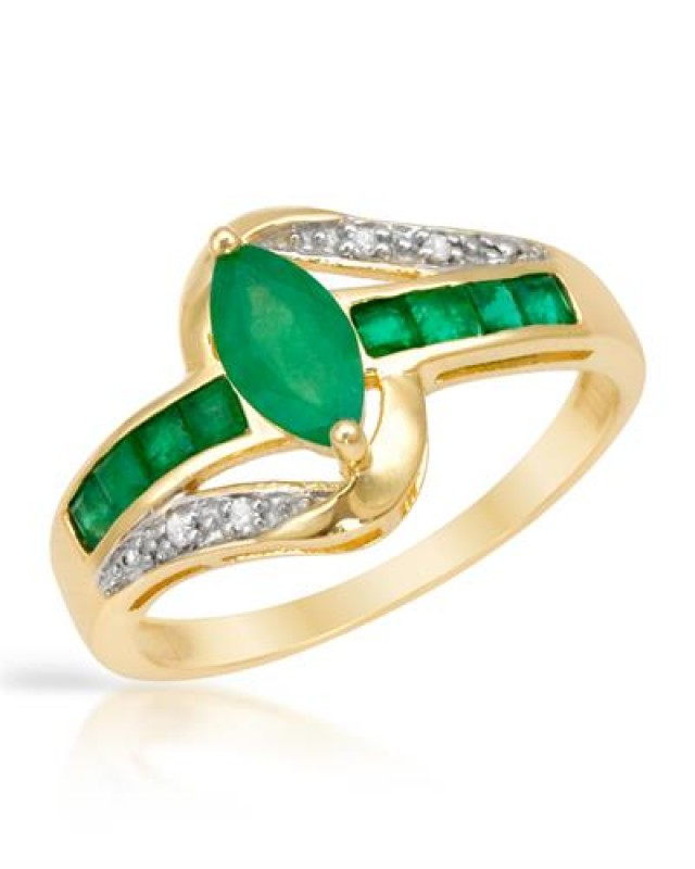 NEW - 1.17TCW OF GENUINE EMERALDS AND DIAMONDS  RING