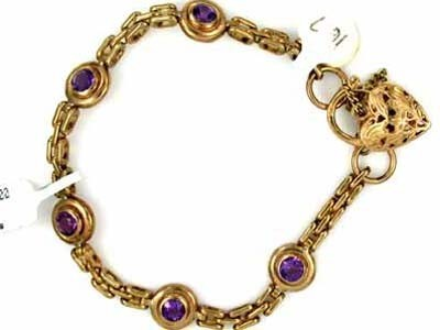 16.7 GRAMS  9K AMEYTHST GOLD BRACELET 16.7 GRAMS GB5