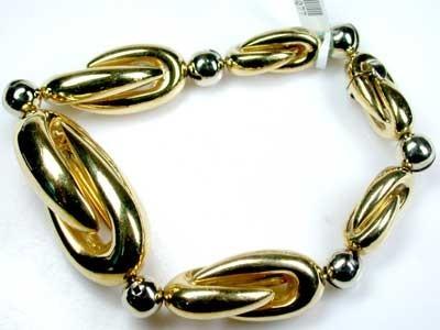 38 GRAMS  18K ITALIAN GOLD BRACELET 2 TONE  GRAMS 38 L378