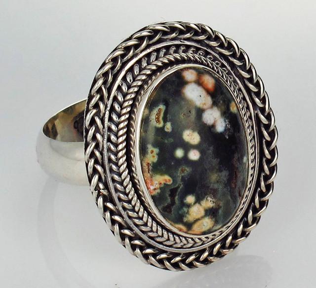 8.5 RING SIZE  OCEAN JASPER STONE SILVER RING [SJ2789]