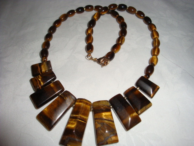 TIGER EYE NECKLACE WITH COLLAR