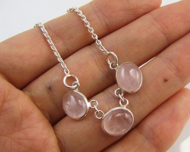 31 Cts  Rose Quartz Necklace      MJA 1181