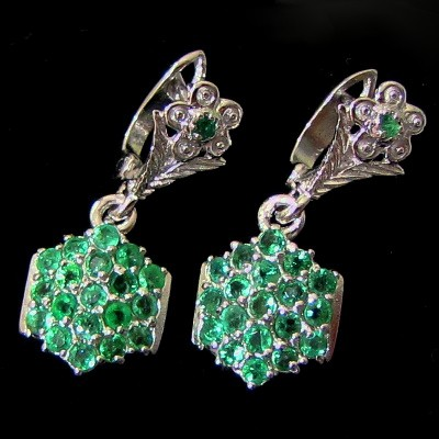 5.22g Natural Green EMERALD Earrings 925 Silver Jewelry
