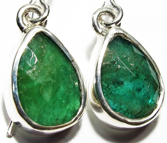 NATURAL EMERALD EARRINGS -SILVER [SJ4109]