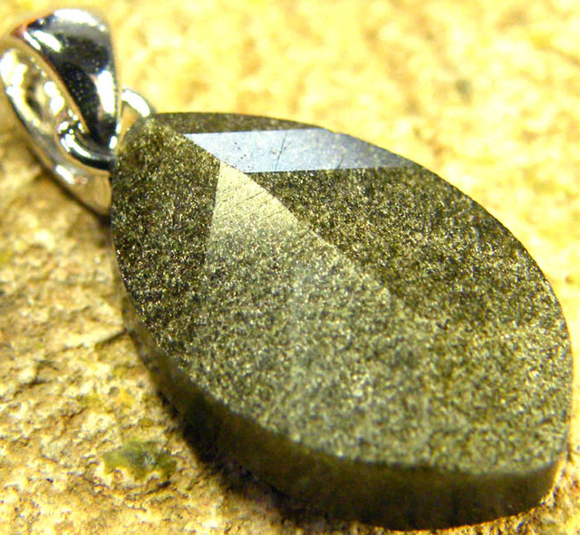 SHIMMERING PYRITE SILVER  PENDANT  6.55 CTS [SJ427]