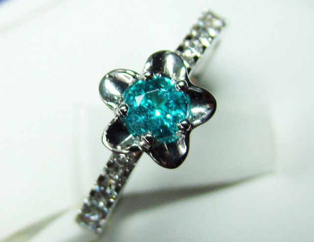 PARAIBA FLOWER DESIGN RING 18K WHITE GOLD  20CTS D-12