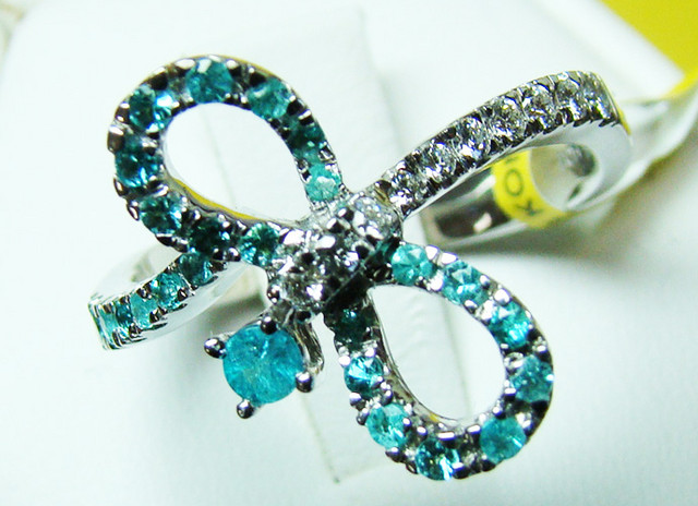 PARAIBA RING 18K WHITE GOLD 26 CTS D-14