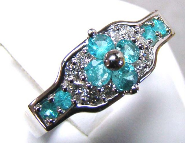 PARAIBA RING 18K WHITE GOLD 32 CTS D-22