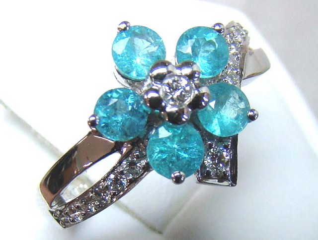 PARAIBA RING 18K WHITE GOLD  25CTS D-24