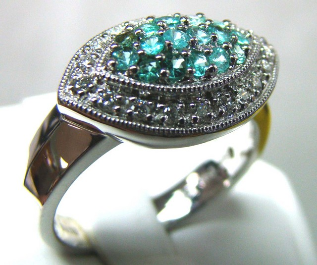 PARAIBA RING 18K WHITE GOLD  35CTS DN-33