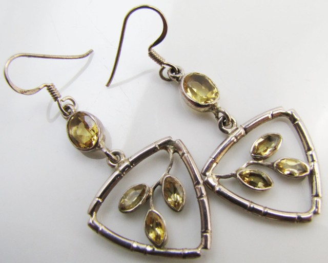 30 Cts Bright Citrine set in silver Earrings  MJA 963