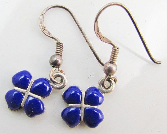 11 Cts   lapis lazuli in silver Earrings   MJA994