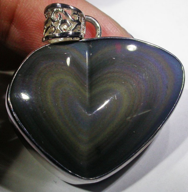 MEXICAN CHATOYANT OBSIDIAN S/S PENDANT AGR 722