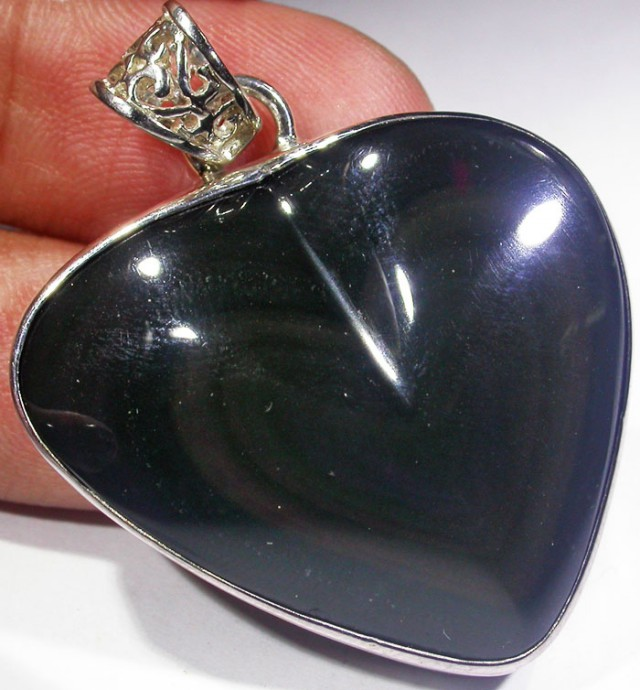 MEXICAN CHATOYANT OBSIDIAN S/S PENDANT AGR 724