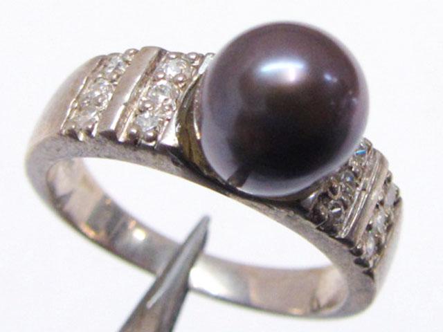 BLACK  PEARL IN SILVER RINGS SIZE 8  MJA 718