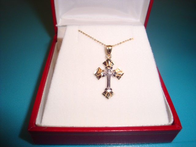 NEW- 7.35 TCW TWO TONE GOLD CROSS NECKLACE