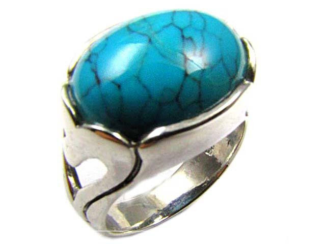 MODERN TURQUOISE STERLING SILVER RING  SIZE  8   AAT 1384
