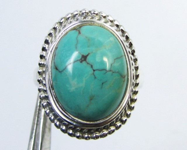 TURQUOISE SILVER RING SIZE  8.5  GG 1011