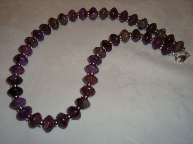 PURPLE RONDELLE JASPER NECKLACE