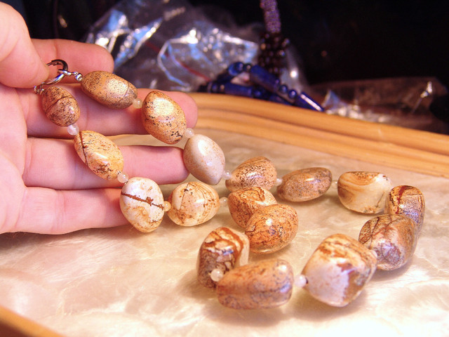 Pictured Jasper Necklace, 19 1/2 inches, Natural Gemstones