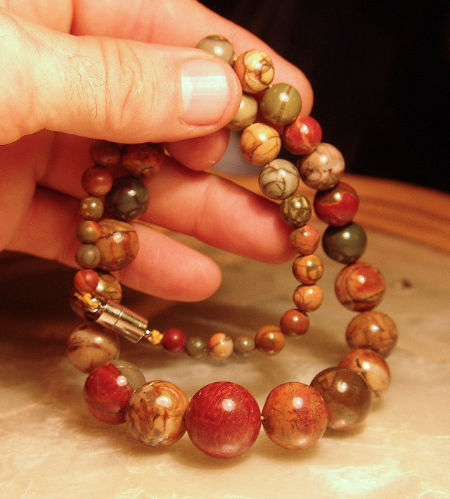 Pictured Jasper Necklace - 19 Inches