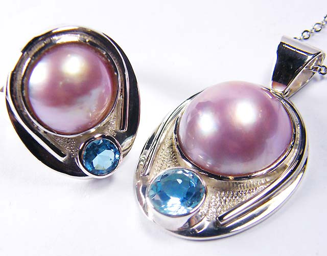 MATCHING LARGE PINK PEARL   SILVER PENDANT N RING  GRR 188