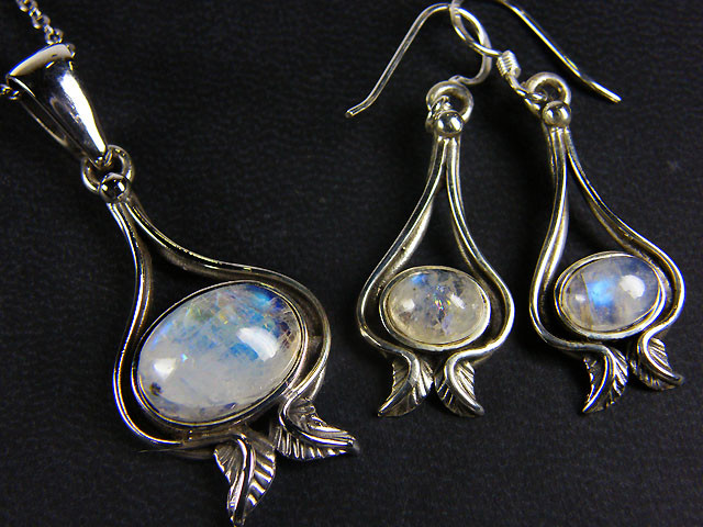 MOONSTONE GEMSTONE  SILVER SET EARRING N PENDANT  GRR 261