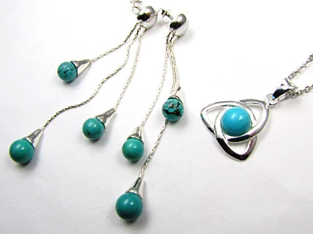 TURQUOISE SILVER PENDANT AND EARRINGS SET  AAT 1412