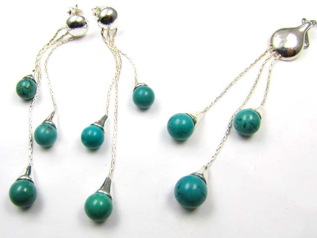 TURQUOISE SILVER LONG PENDANT AND EARRINGS SET  AAT 1414