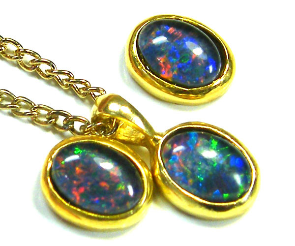 7x5 MM  TRIPLET SET  EARRINGS AND PENDANT  SCA1998