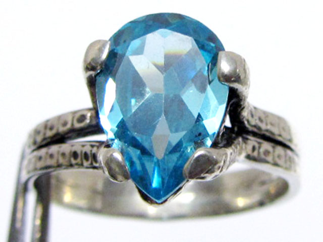 Topaz Blue set in silver ring  sizer 10  MJA 539