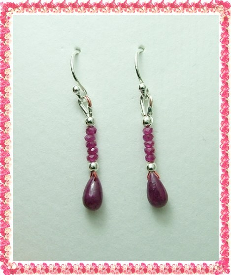 Quality African Ruby .925 Silver Earrings JW43