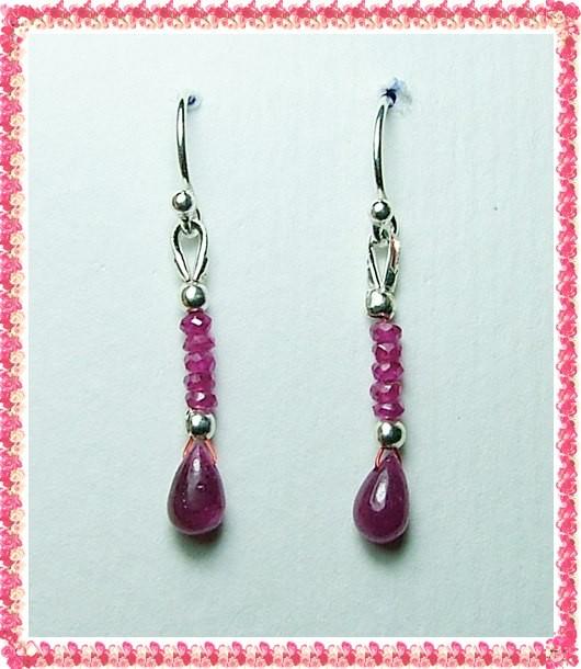 Quality African Ruby .925 Silver Earrings JW42