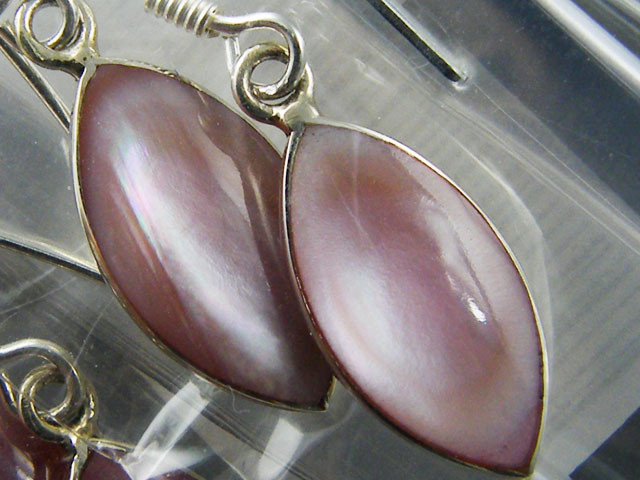 TRADE DEAL3 PINK SHELL  SILVER EARRINGS  MYT314