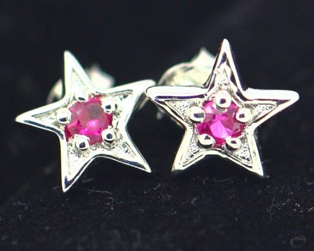 Solid 925 Silver Earing 1.77Grams Pink Ruby Gemstone