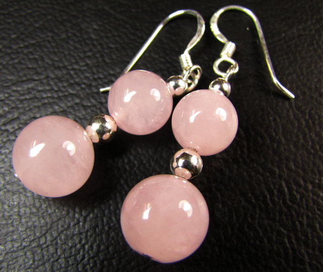 ROSE  QUARTZ  SILVER  EARRINGS  RT 73